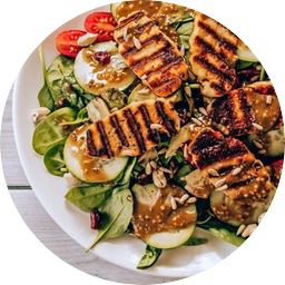 healthy chicken and salad lunch